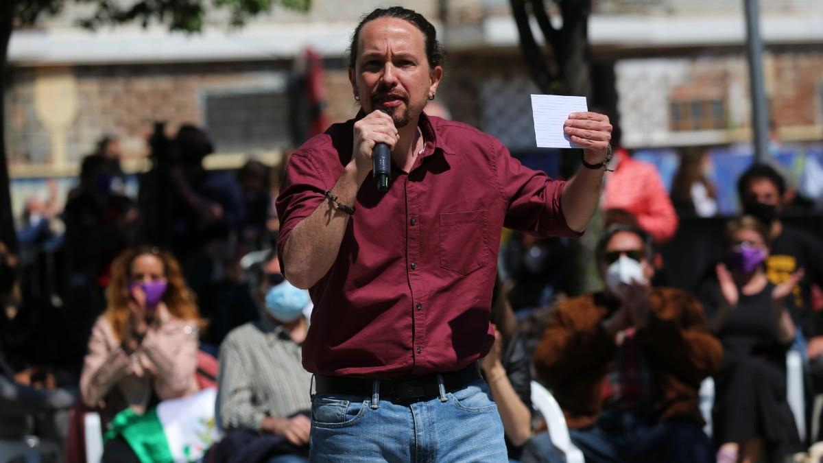 El candidato de Unidas Podemos a la Presidencia de la Comunidad de Madrid, Pablo Iglesias, durante un mitin. (Foto: Europa Press)