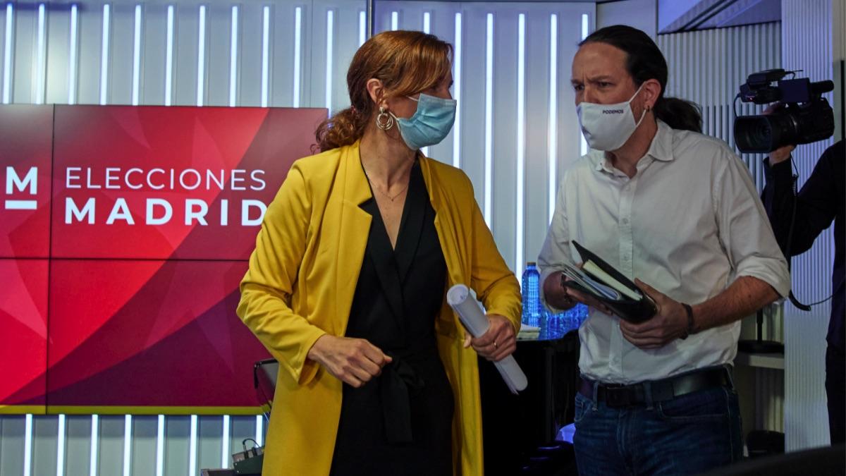 Mónica García (Más Madrid) y Pablo Iglesias (Podemos). (Foto: Jesús Hellín – Europa Press)
