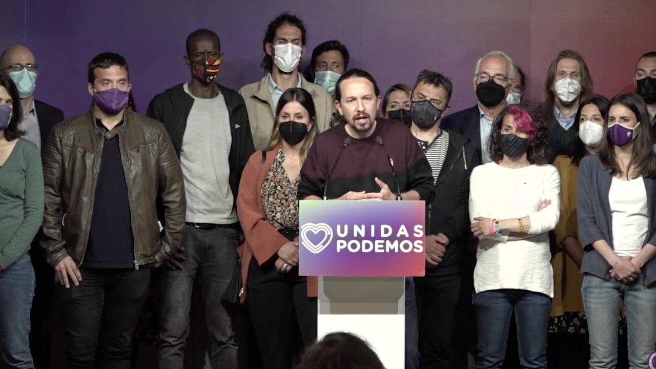 Pablo Iglesias en la noche electoral del 4M cuando anunció su marcha.