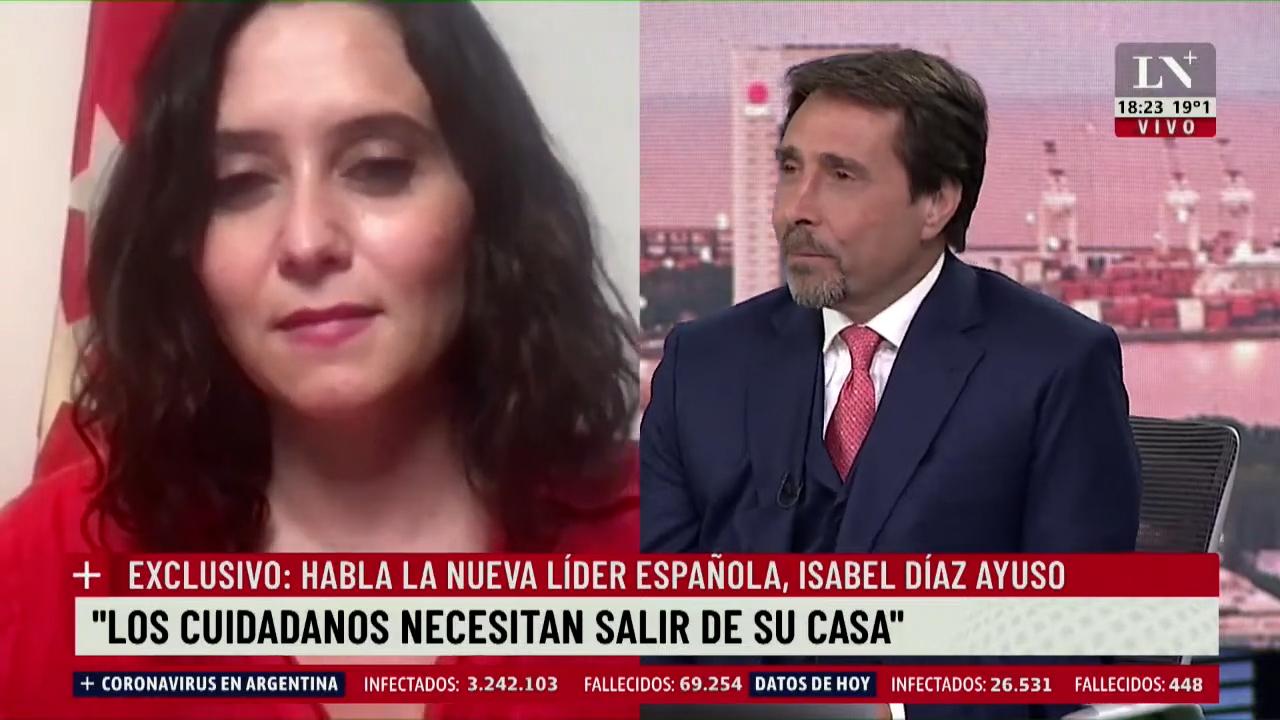 Entrevista a Isabel Díaz Ayuso en el canal de televisión argentino La Nación.